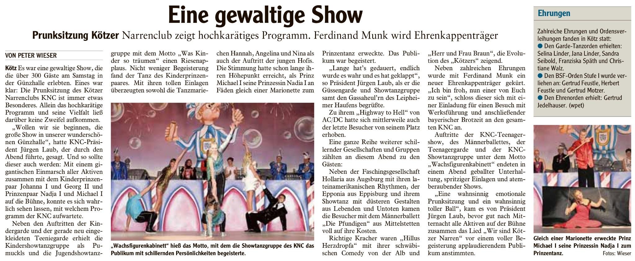 Bericht Prunksitzung Günzburger Zeitung